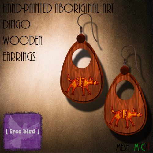 [ free bird ] Aboriginal Dingo Wooden Earrings