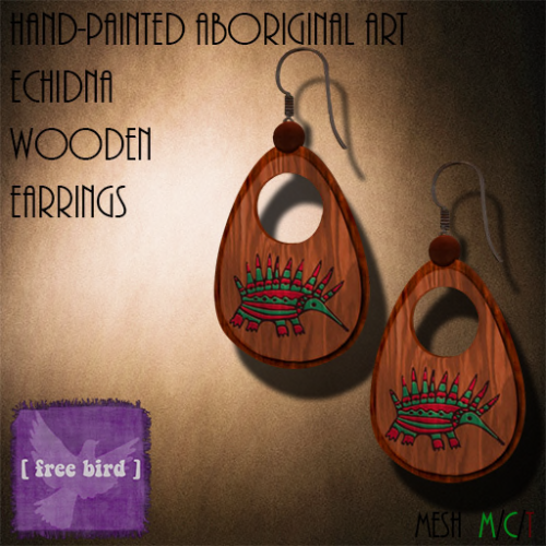 [ free bird ] Aboriginal Echidna Wooden Earrings