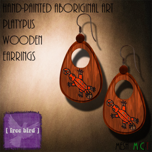 [ free bird ] Aboriginal Platypus Wooden Earrings