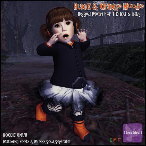 [ free bird ] Black and Orange TD Hoodie