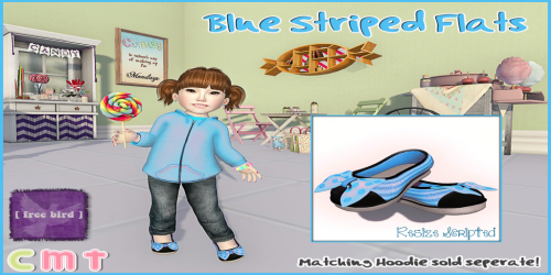 [ free bird ] Striped Blue Flats