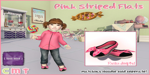 [ free bird ] Striped Pink Flats