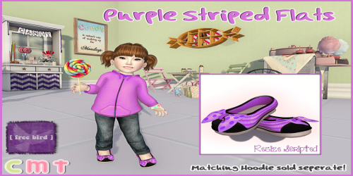 [ free bird ] Striped Purple Flats