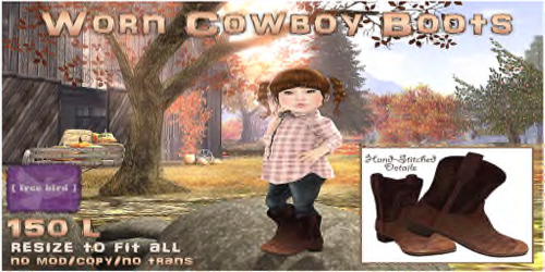 [ free bird ] Worn Cowboy Boots for Dream Garden