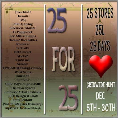 25 for 25 Hunt December Round