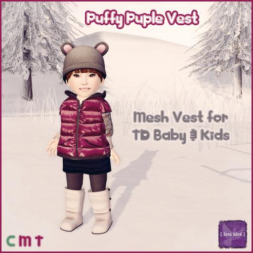 [ free bird ] Dark Purple Puffy TD Vest