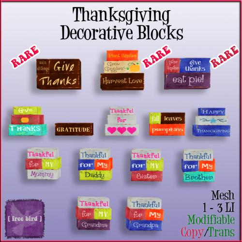 [ free bird ] Thanksgiving Decorative Blocks Gatcha Sign