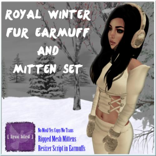 [ free bird ] Royal Winter Fur Earmuff and Mittens Set