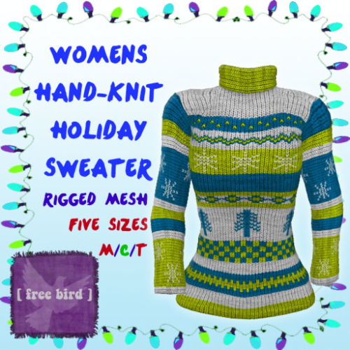 [ free bird ] Women's Hand-Knit Holiday Sweater Yellow_Blue