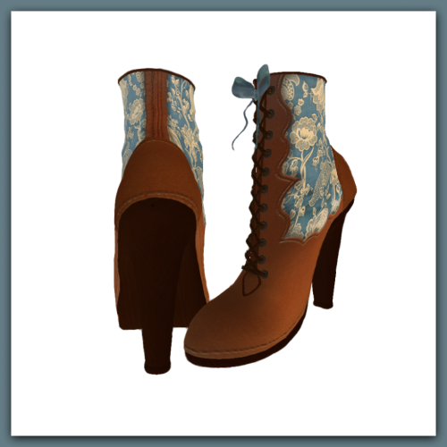 [ free bird ] Victorian Boot Blue Flower Pattern Display