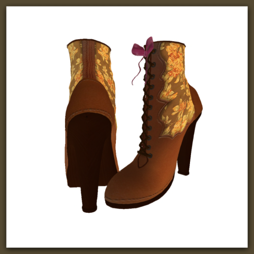 [ free bird ] Victorian Boot Brown Flower Pattern Display