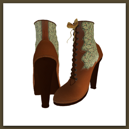 [ free bird ] Victorian Boot Leaf and Berry Pattern Display
