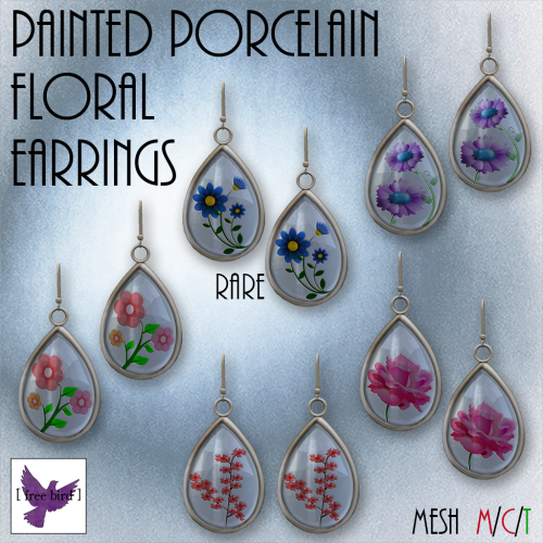 [ free bird ] Painted Porcelain Floral Earrings Gacha Sign