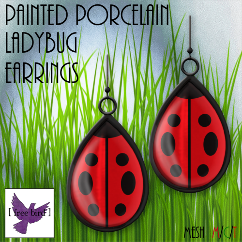 [ free bird ] Painted Porcelain Ladybug Earrings Ad