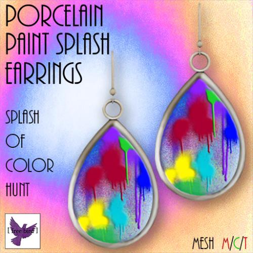 [ free bird ] Porcelain Paint Splash Earrings - Splash of Color