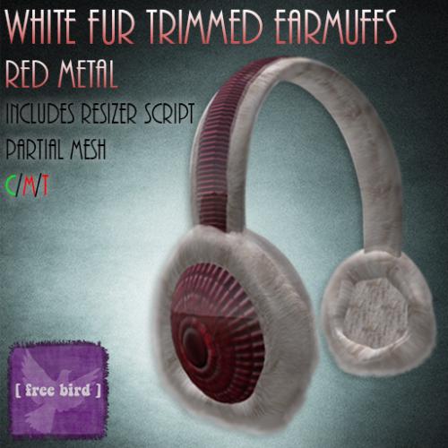 [ free bird ] white fur trimmed earmuffs - red metal