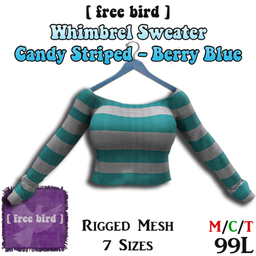 Whimbrel Sweater - Candy Striped Berry Blue