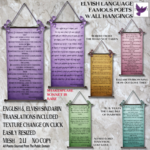 [ free bird ] Elvish Poets Wall Hangings Ad