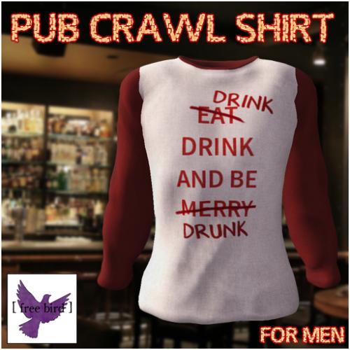 [ free bird ] Men's Pub Crawl Long-Sleeved T Ad