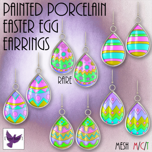 [ free bird ] Painted Porcelain Easter Egg Earring Gacha Ad