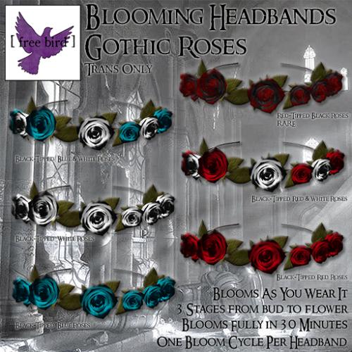 [ free bird ] Blooming Headband Gothic Roses Gacha Ad