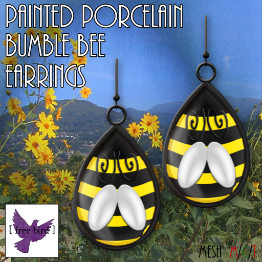 [ free bird ] Painted Bumble Bee Earrings Ad
