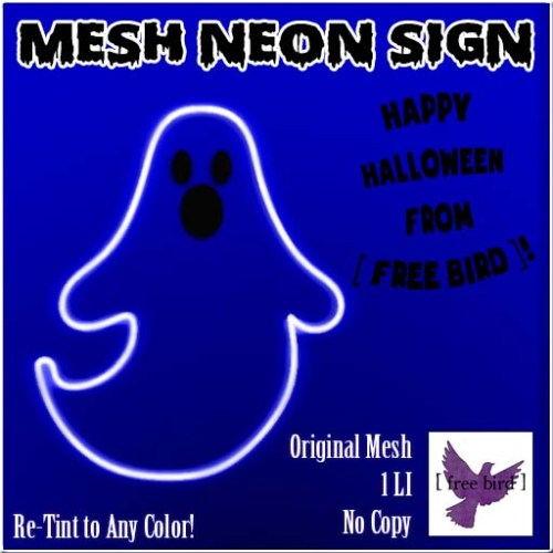 [ free bird ] Halloween Ghost Neon Sign Ad