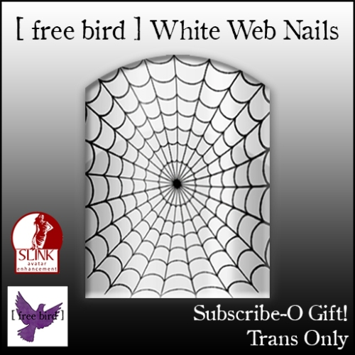 [ free bird ] White Web Nails Subscribe-O Ad