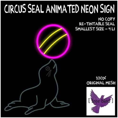 [ free bird ] Circus Seal Animated Neon Sign Ad