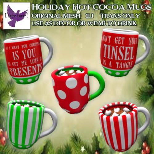 [ free bird ] Holiday Hot Cocoa Mugs Ad