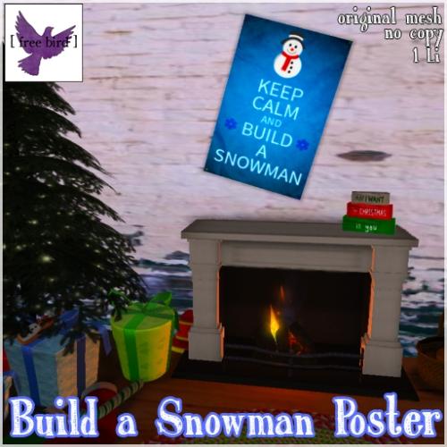 [ free bird ] Keep Calm Snowman Poster Ad