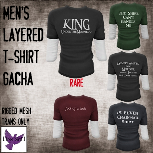 [ free bird ] Men's Tolkien Shirt Gacha