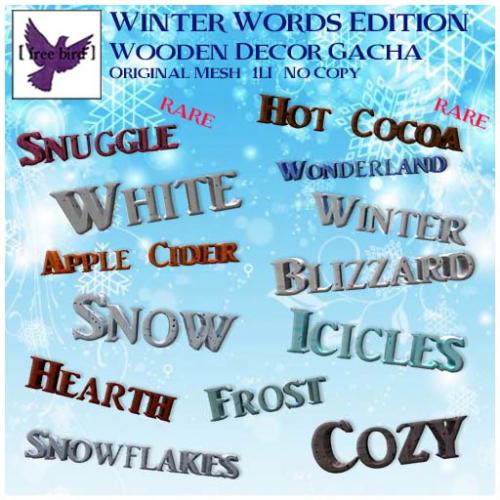 [ free bird ] Winter Words Wooden Decor Gacha Ad