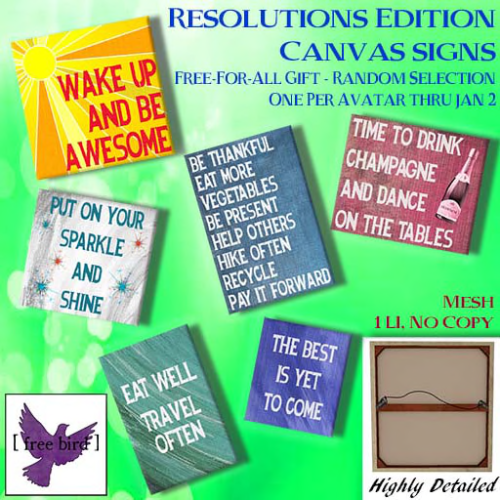 [ free bird ] Free-For-All Resolutions Canvas Give Away Ad