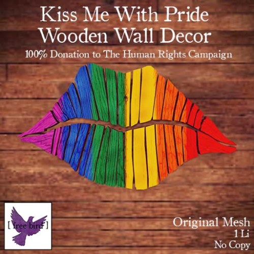 [ free bird ] Kiss Me With Pride Wooden Lip Decor Ad