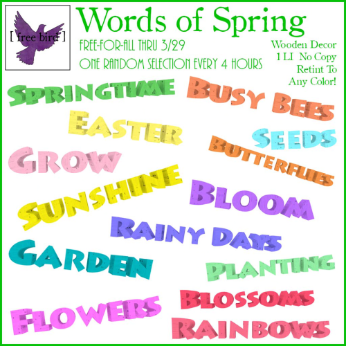 [ free bird ] Words of Spring Free-For-All Ad