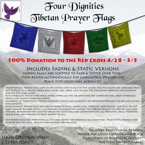 [ free bird ] Four Dignities Tibetan Prayer Flags Red Cross Donation
