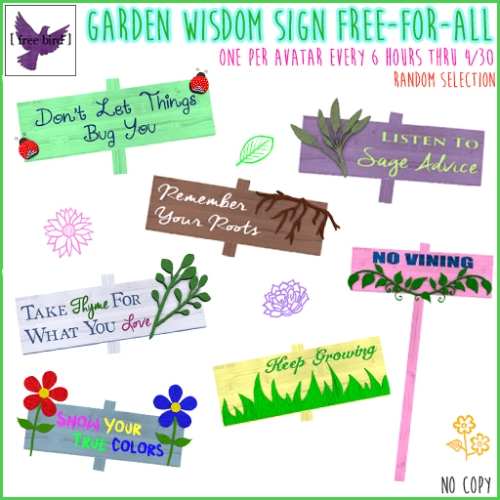 [ free bird ] Garden Wisdom Sign Free-For-All Ad