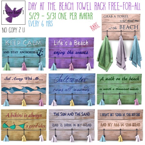 [ free bid ] Day at the Beach Towel Rack Free-for-All