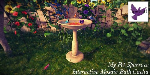 [ free bird ] My Pet Sparrow Mosaic Bath Glam Ad