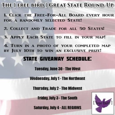 [ free bird ] Great State Round-Up Schedule