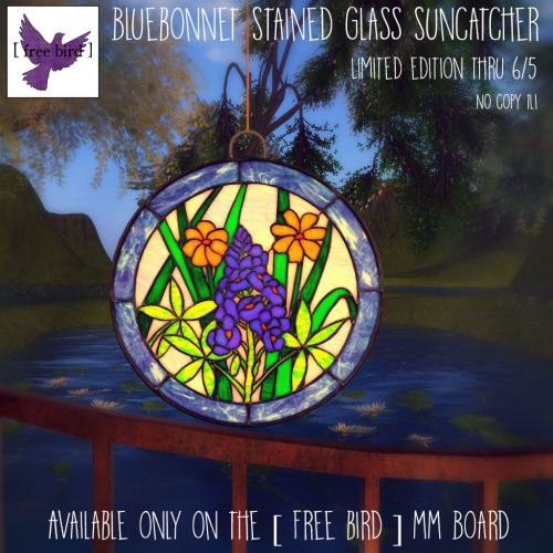 [ free bird ] Limited Edition Bluebonnet Stained Glass Suncatcher for the MM Board