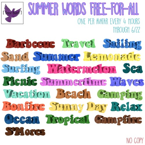 [ free bird ] Summer Words Free-for-All Giveaway