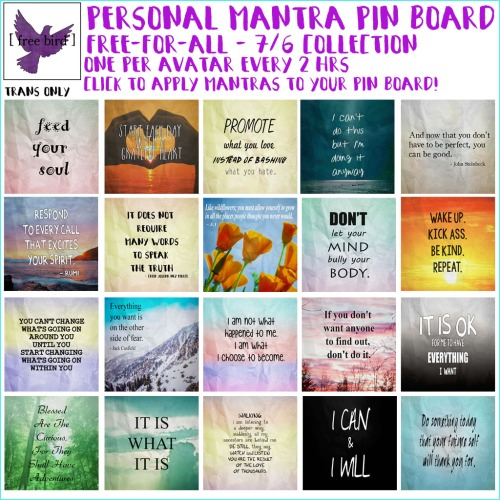 [ free bird ] Personal Mantra Pin Board Free-for-All Set 1