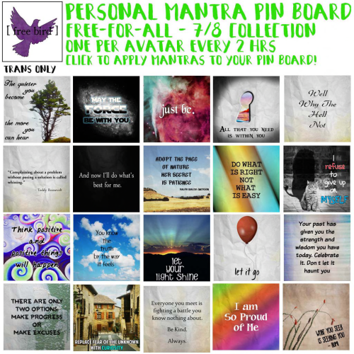 [ free bird ] Personal Mantra Pinboard Free-for-All Set 3