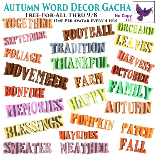 [ free bird ] Autumn Word Decor Gacha Free-For-All