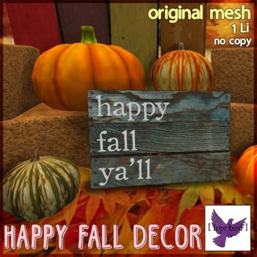 [ free bird ] Happy Fall Wood Decor Ad