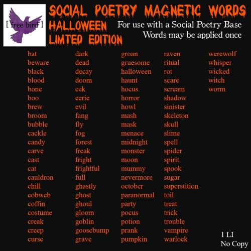[ free bird ] LE Social Poetry Magnetic Words Halloween Edition