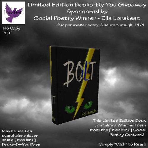 [ free bird ] Limited Edition Books-By-You Social Poetry - Bolt