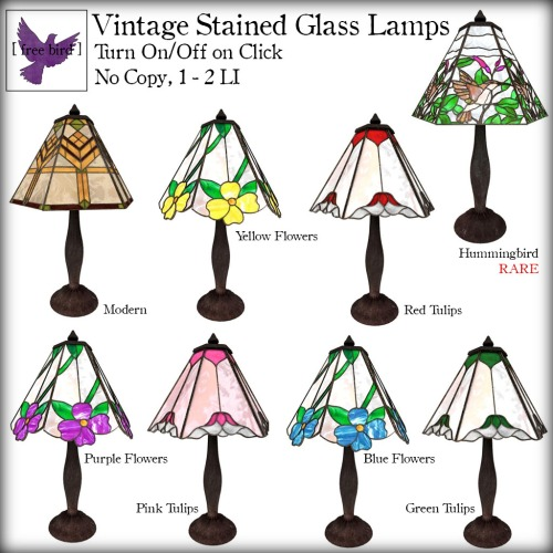 [ free bird ] Vintage Stained Glass Lamps Gacha Key